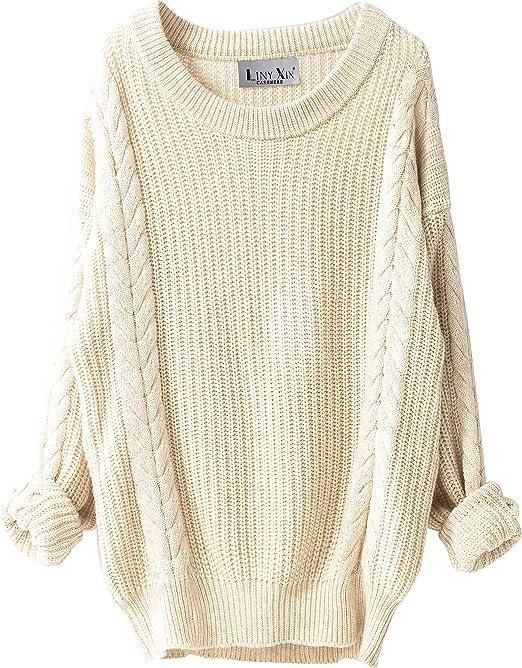 LinyXin Damen Winter Kaschmir übergroße Pullover Kleid Gestrickte Lose Langarm Rundhalsausschnitt Warmer aus Wolle Oversized Pullover