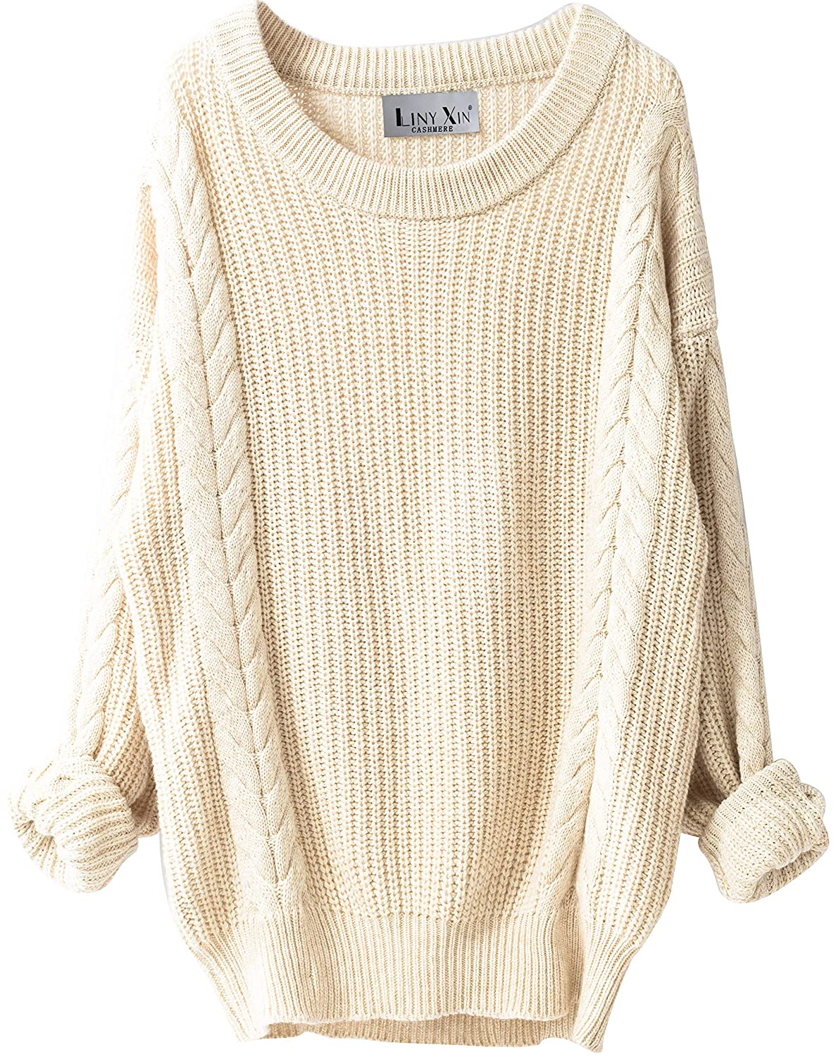 4099cedd2a8df Liny Xin Women's Cashmere Oversized Loose Knitted Crew Neck Long Sleeve  Winter Warm Wool Pullover Long Sweater Dresses Tops (Beige) at Amazon  Women's ...