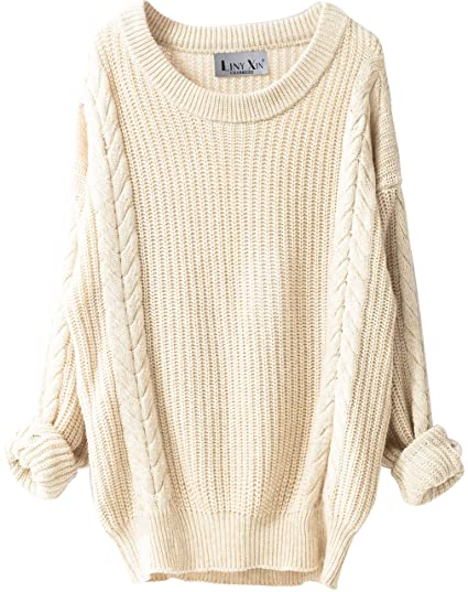 6faf283b34 LinyXin Cashmere Women s Cashmere Winter Jumper Oversized Loose Casual Crew  Neck Batwing Sleeve Warm Pullover Knitted