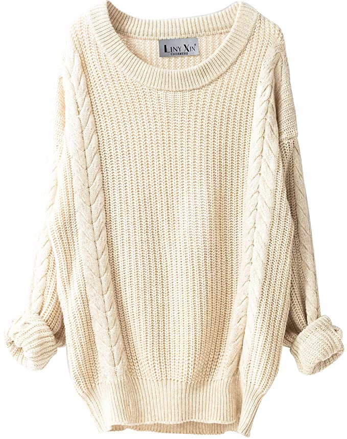 6bf273f51e Liny Xin Women s Cashmere Oversized Loose Knitted Crew Neck Long Sleeve  Winter Warm Wool Pullover Long Sweater Dresses Tops (Beige) at Amazon  Women s ...