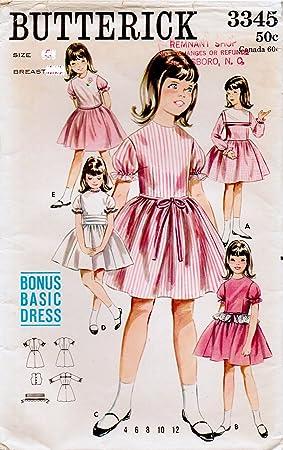 Butterick 3345 Niñas Vestido con fitted corpiño, reunidos falda ...