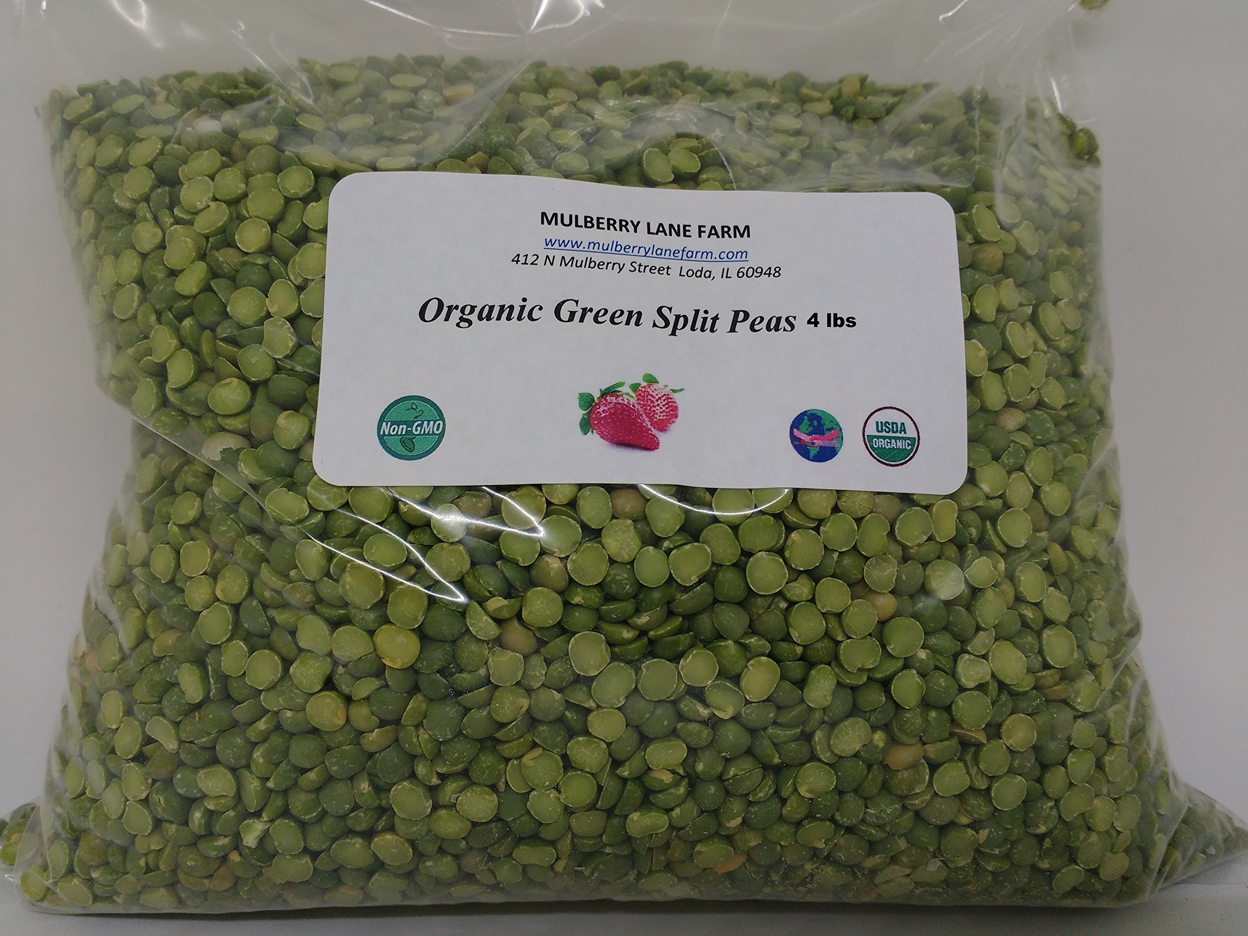 Green Split Peas Green 4 Pounds (Four lbs) USDA Certified Organic Non-GMO BULK by Mulberry Lane Farms