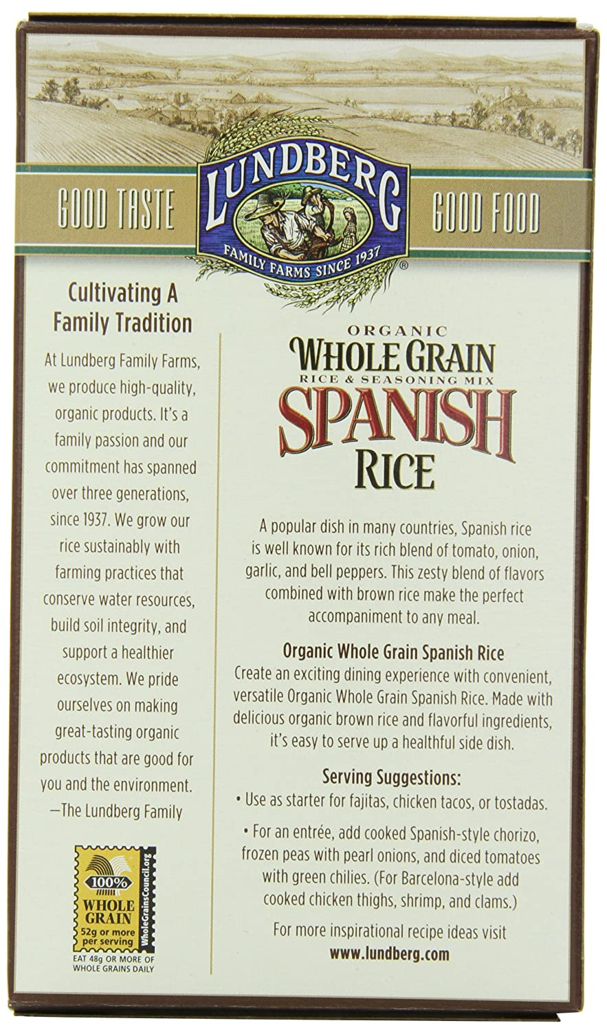 Amazon : Lundberganic Whole Grain Rice, Spanish, 6 Ounce (pack Of  6) : Packaged Rice Dishes : Grocery & Gourmet Food