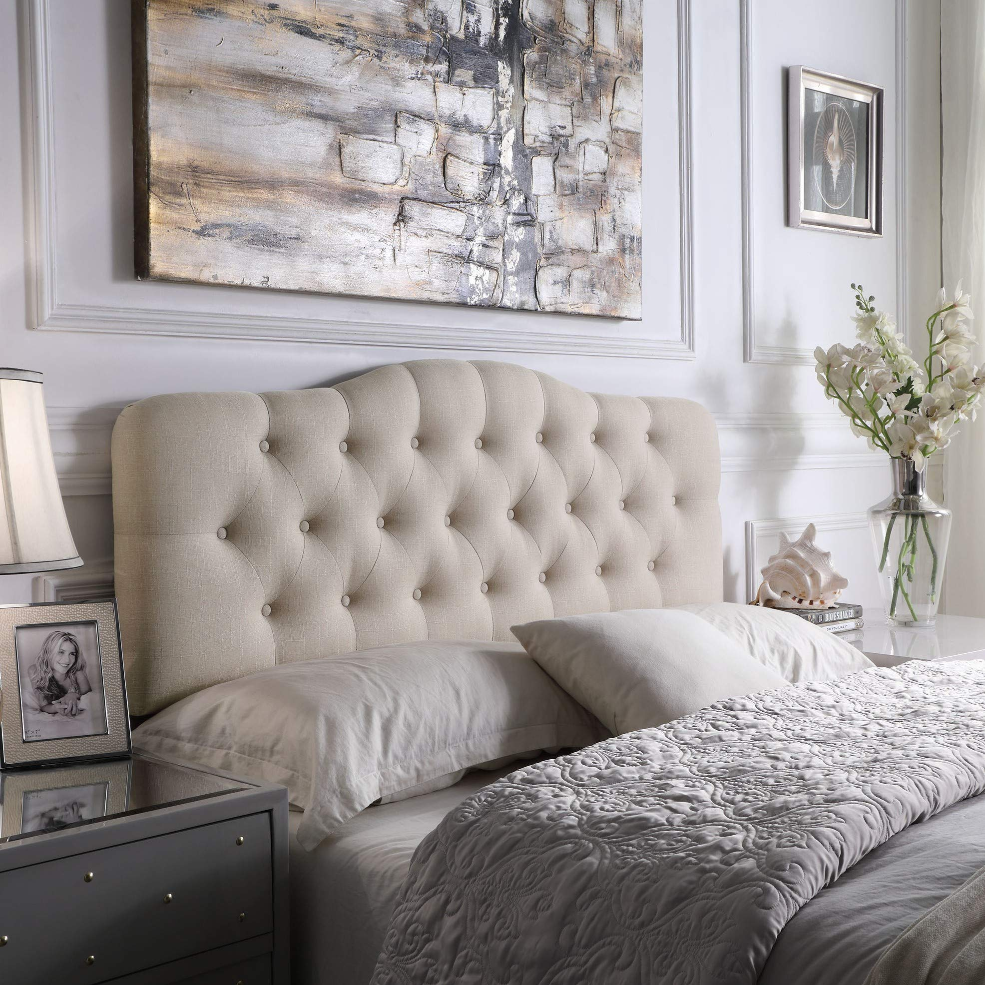 Rosevera Home Givanna Upholstered Tufted Button Linen Headboard-Queen Size in Beige