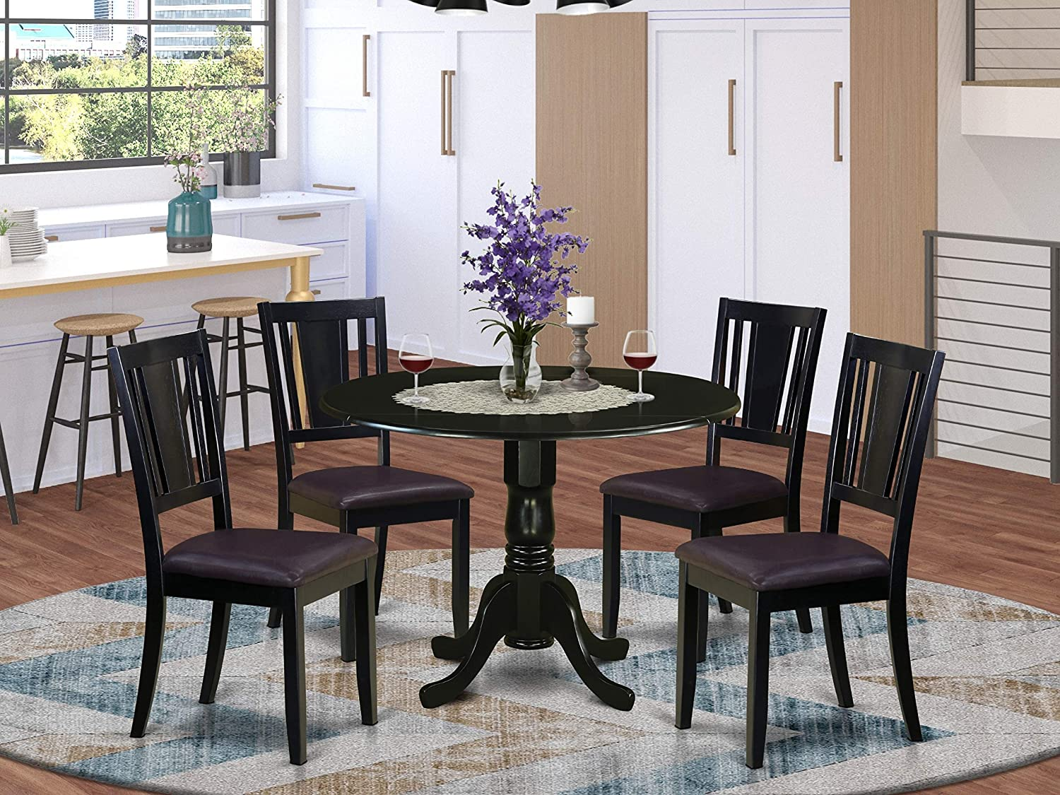 East West Furniture 5-Pieces Dining Set PU Leather modern dining chairs - Black Finish Hardwood Two 9-Inch Drop Leaves Pedestal Small Dining Table and Frame