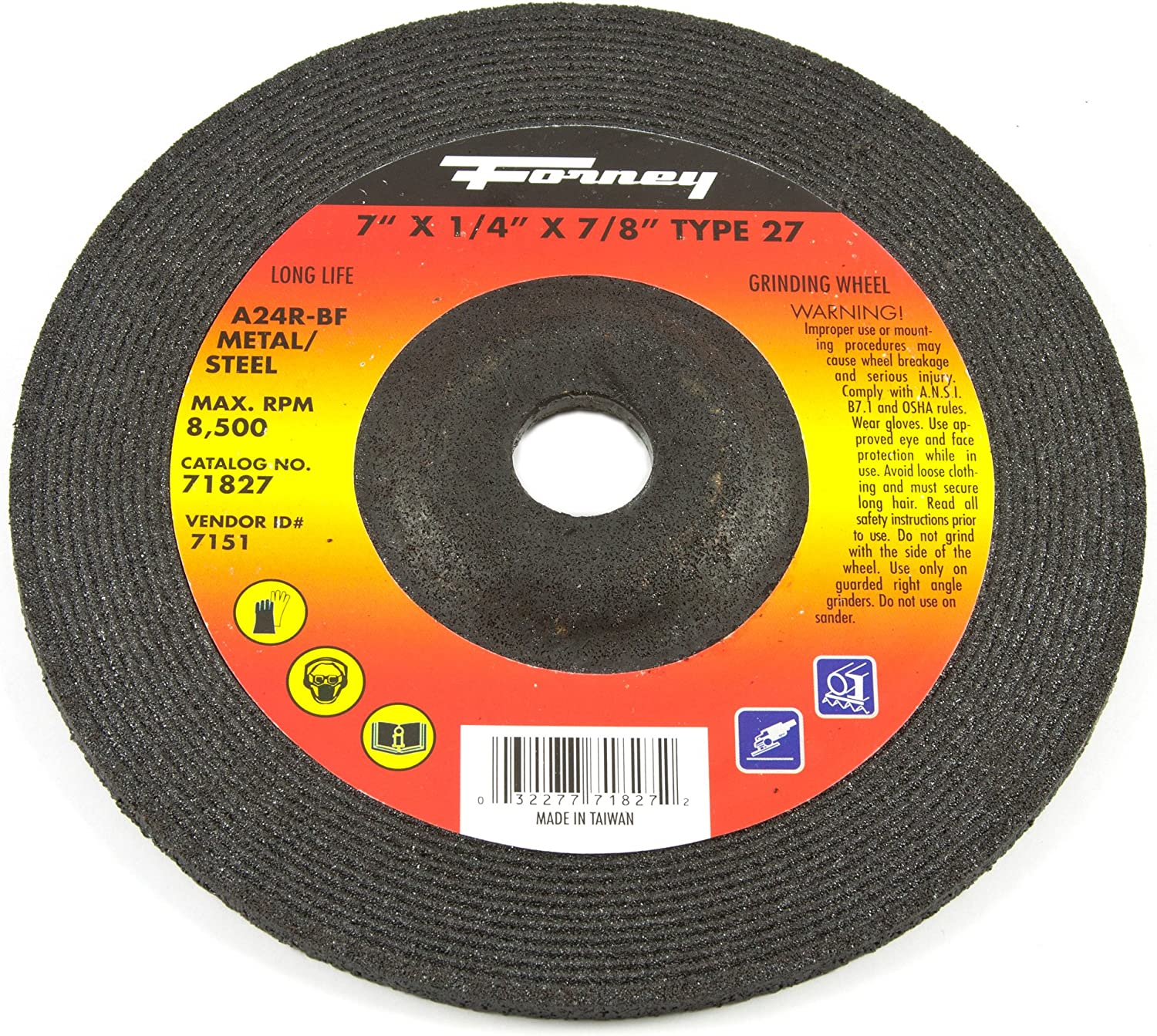 44 Pack 1//4 in Thick 6 in Dia Type 27 Hardness R Depressed Center Wheel 24 Grit