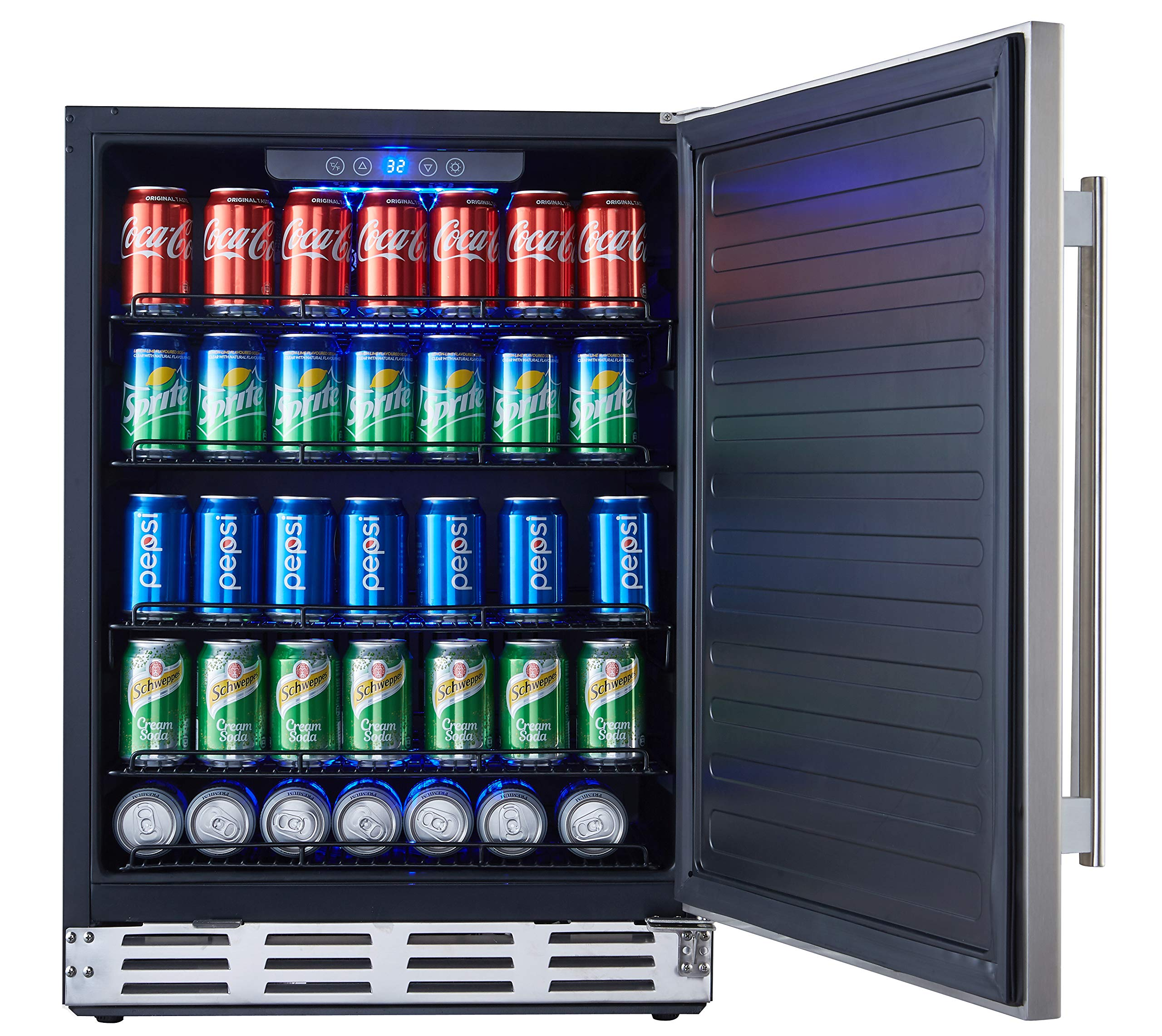 Kalamera 24'' Stainless Steel Beverage Cooler - Soda and Beer Refrigerator - Drinks Fridge for Home and Commercial Use - Chills Drinks at 32-41 Degrees