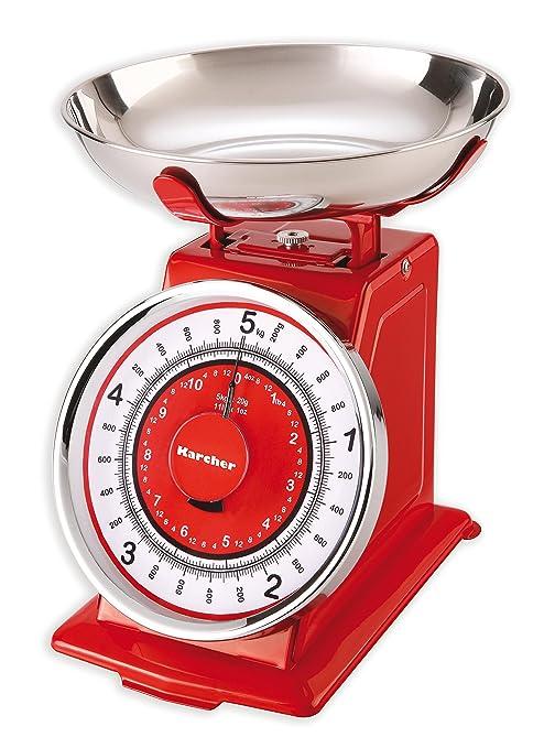 Karcher Báscula de Cocina, Retro, mecánica, plástico, Rojo, 23 x 21