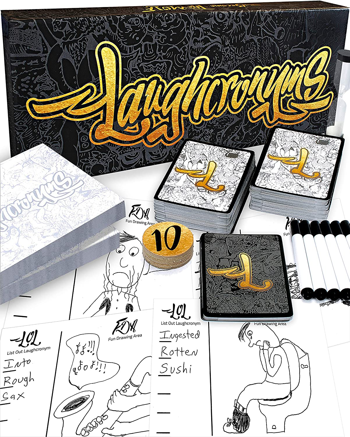 Laughcronyms - Hilarious New Party Game of Bad Drawings and Twisted Acronyms - for Adults or Families - Funny Adult Humor or Family Friendly Party Games