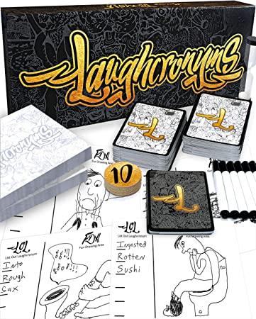 Laughcronyms Party Games for Adults or Family – Fast Funny Drawing Game of  Quick Creative Thinking - Fun Adult Games for Game Night Parties or Family  ...