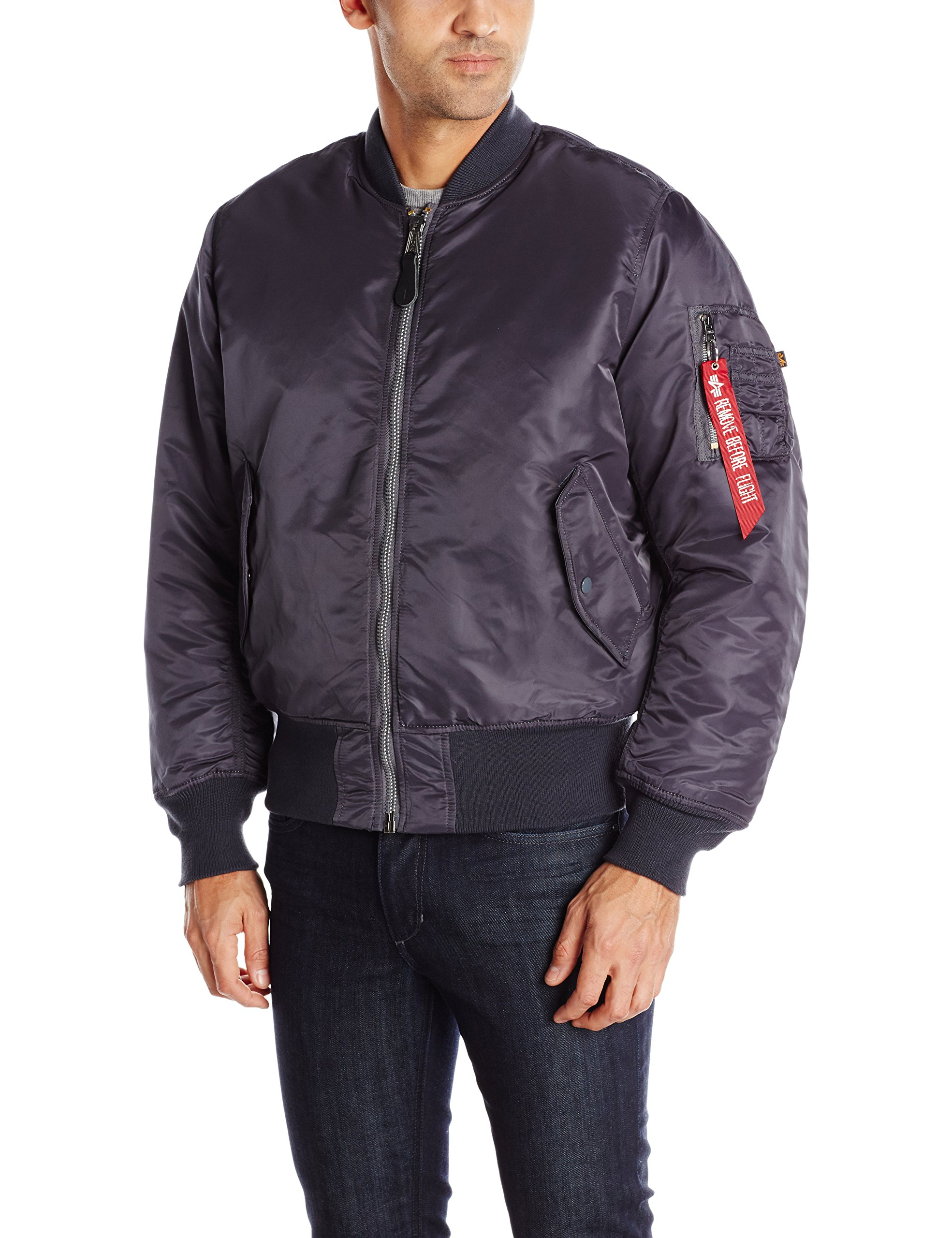 Alpha Industries Men's MA-1 Bomber Flight Jacket, Steel Blue, Large by Alpha Industries