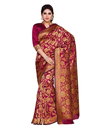 51193cfc49 Mimosa Women's Silk Saree With Blouse Piece (4150-R6-Mej_Maroon): Amazon.in:  Clothing & Accessories