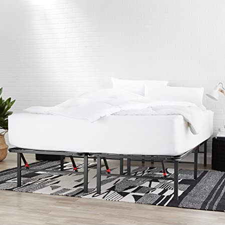 Amazon Basics - Somier fijo plegable, montaje sin herramientas, permite almacenar debajo de la cama, 135 x 190 cm