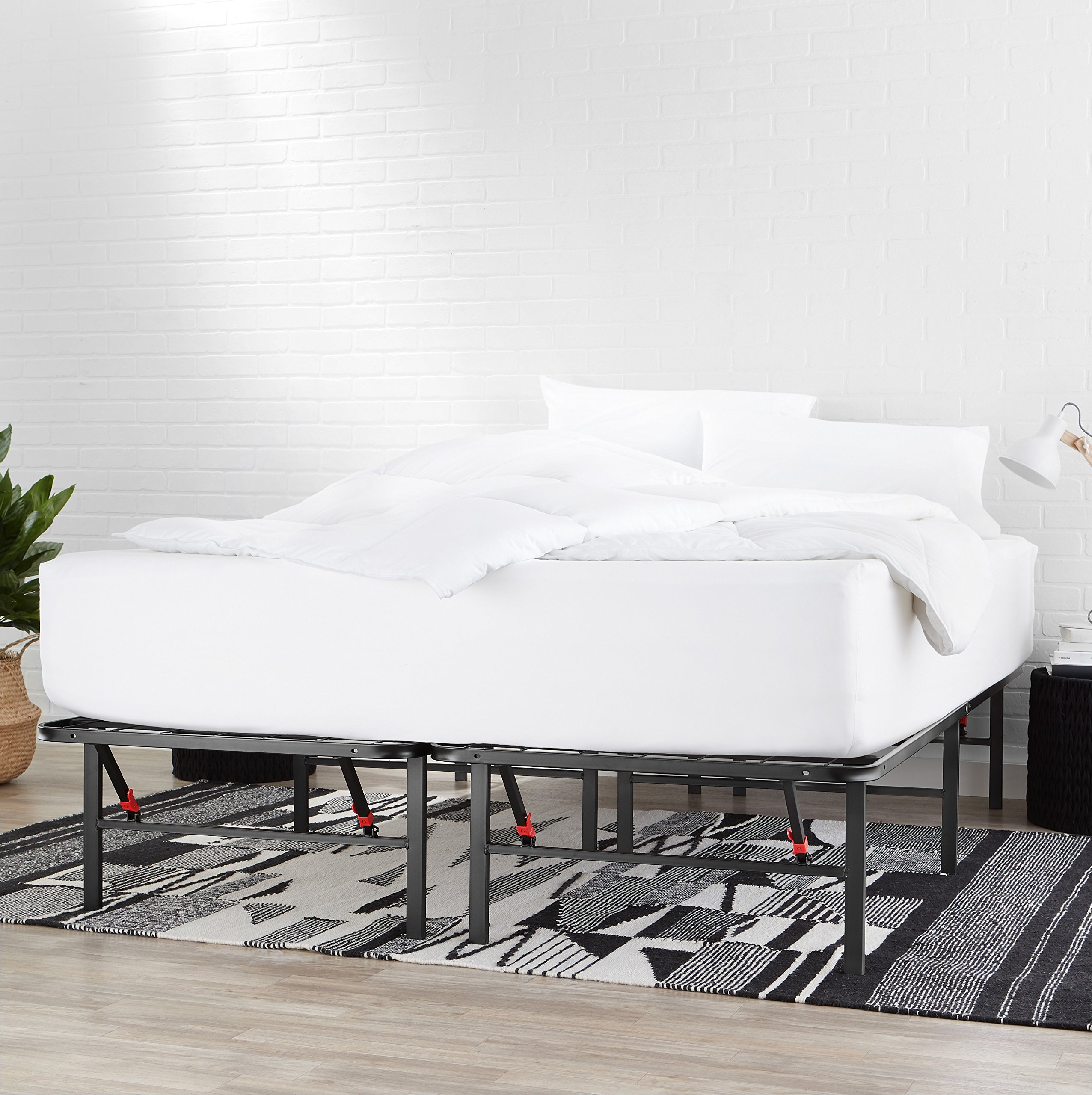AmazonBasics Foldable Metal Platform Bed Frame for Under-Bed Storage - Tools-free Assembly, No Box Spring Needed - Queen by AmazonBasics