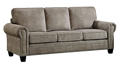 Merveilleux Homelegance Cornelia Rolled Arm Sofa With Nail Head Accent Polyester Fabric  Cover, Sand
