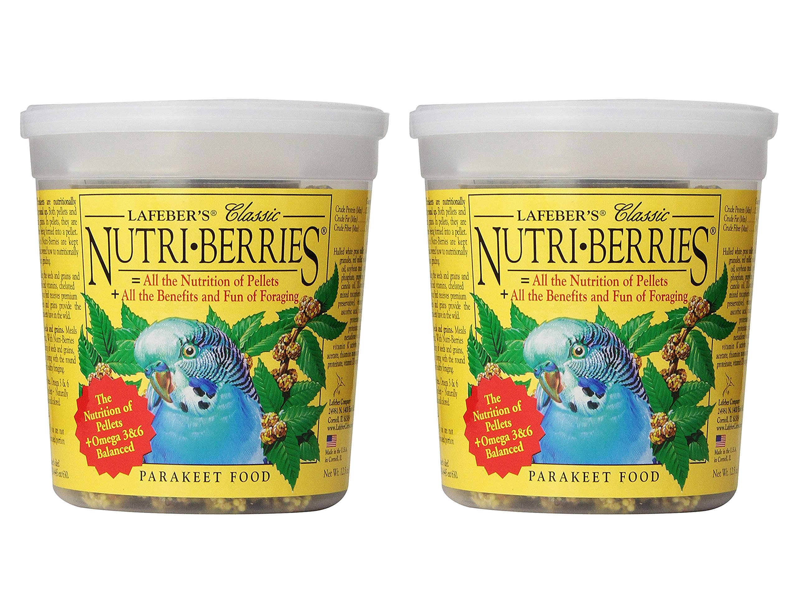 Animal Supply Co. Set of 2 Lafeber Classic Nutri-Berries for Parakeets 12.5 oz Tub bundled by Maven Gifts