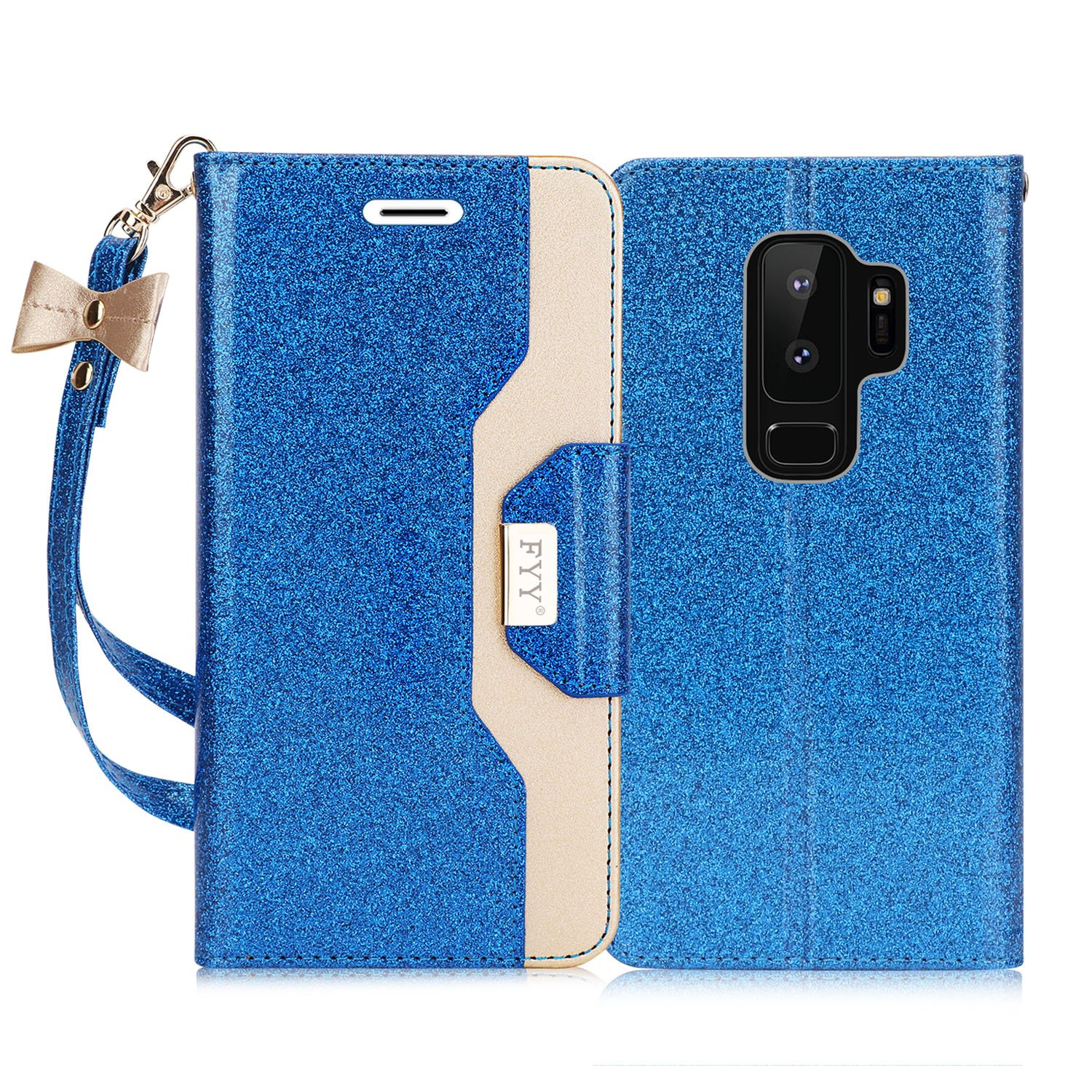 FYY Case for Galaxy S9 Plus, Inside Makeup Mirror Leather Wallet Case with Prevent Card Information Leaking Technique and for Samsung Galaxy S9 Plus Navy Kickstand Feature