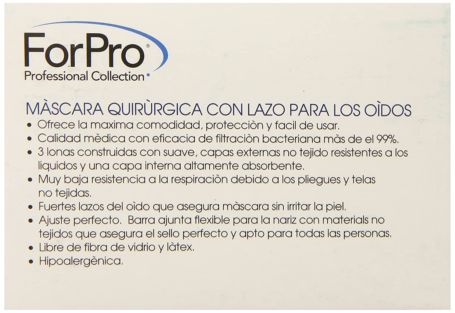Amazon.com: For Pro 3-Ply Surgical Ear Loop Mask, 50 Count: Health & Personal Care