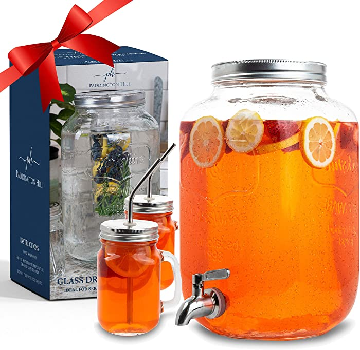 2 gallon glass drink dispenser and 2 mason jars and stainless steel spigot and fruit infuser beverage dispenser drink dispenser for parties drink dispenser with spigot