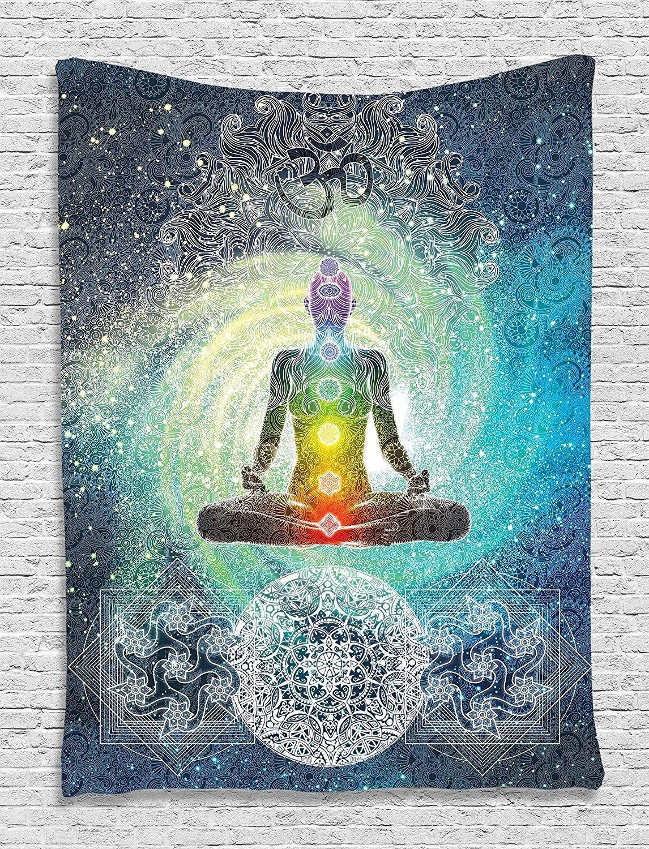 Qees indiano hippie yoga Tapestry mandala design hippie di meditazione Zen Style Sacred geometria con segno chakra Art arredo bagno con ganci free GT37