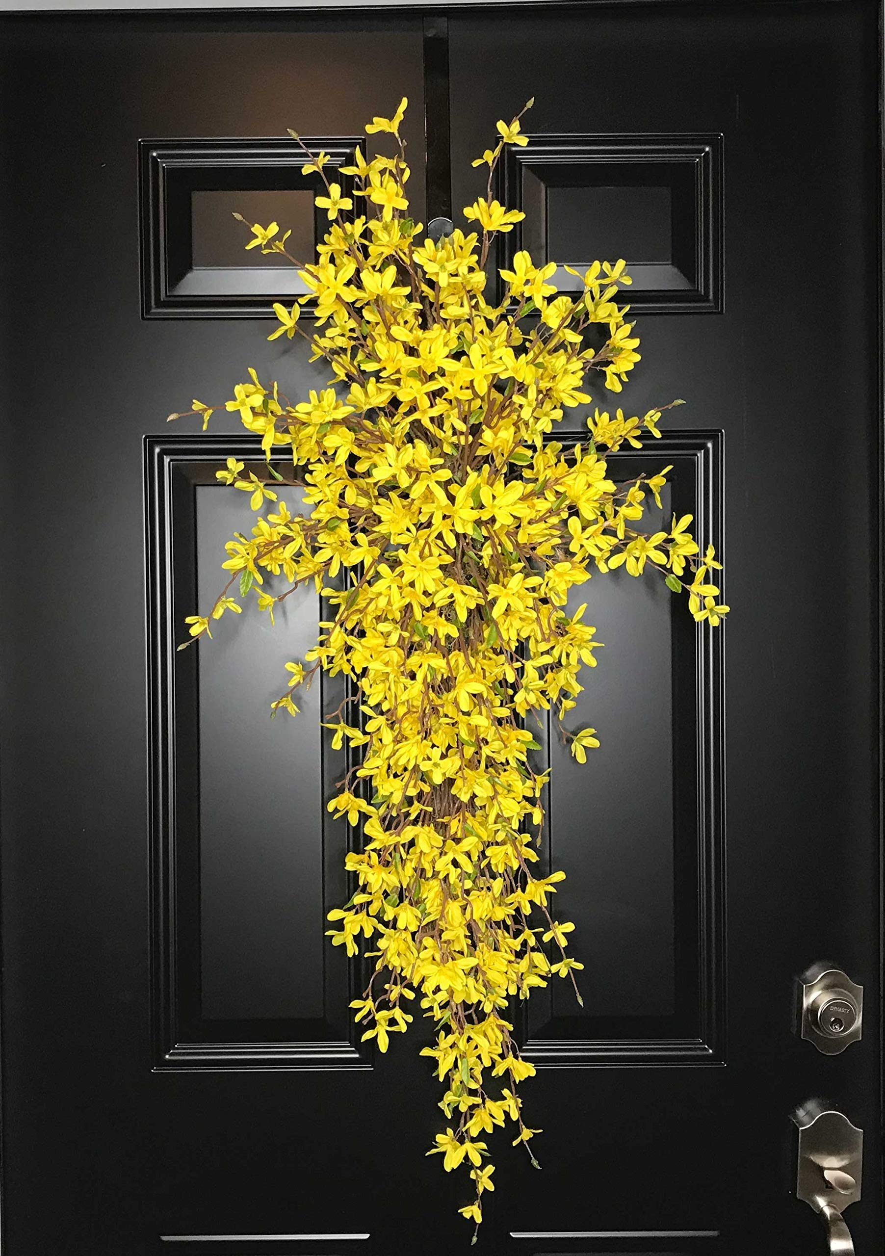 Extra Large Forsythia Floral Teardrop Swag Wreath for Front Door Porch Indoor Wall Farmhouse Decor Spring Springtime Summer Summertime Mother's Day Easter, Handmade, Yellow, 3 Sizes-42'', 36'', 30'' L by Wreath and Vine, LLC (Image #6)