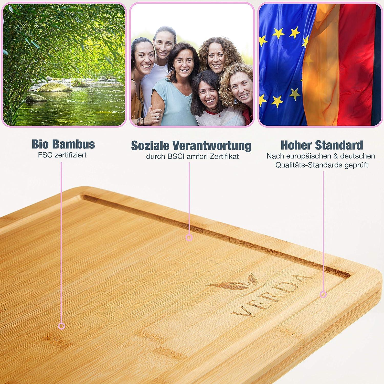 VERDA/®️ Planche /à d/écouper en bambou bio 40x30x2cm Bambou Enti/èrement sans plastique /& Zero Waste dans toutes les tailles