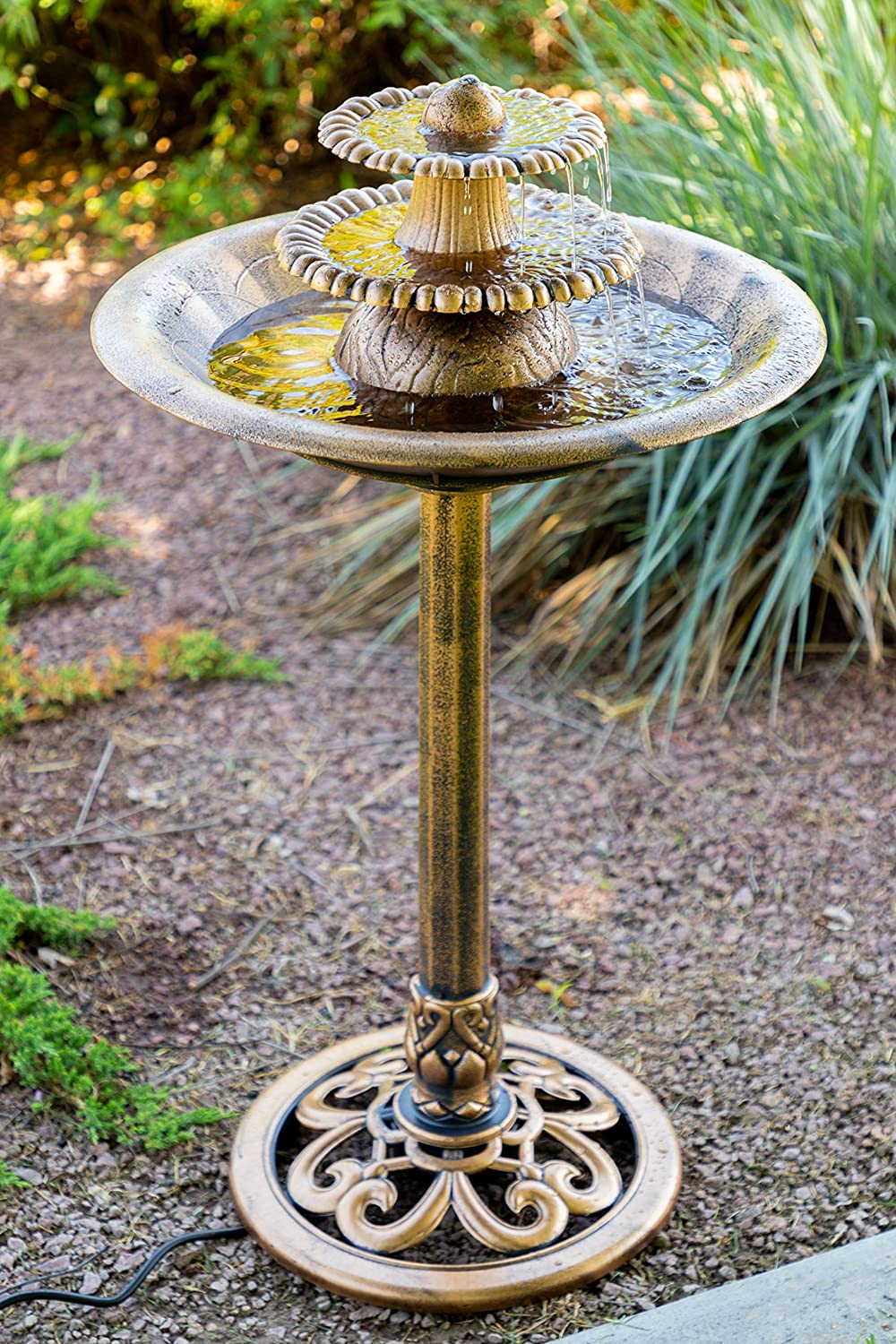 Alpine TEC106-BZ Three-Tiered Classic Pedestal Garden Water Fountain and Birdbath, Bronze Finish, 36 Inch Tall