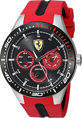 Amazon Com Ferrari Men S Stainless Steel Quartz Watch With Silicone Strap Red 22 Model 0830586 Watches
