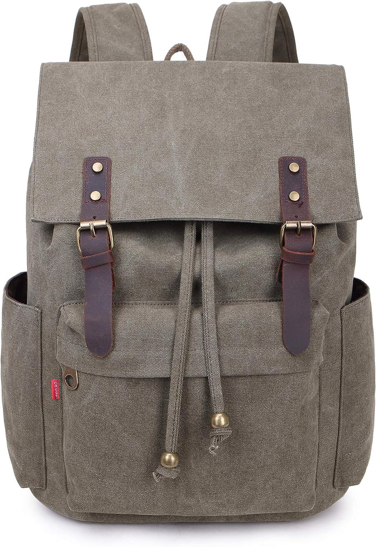 La Packmore Canvas Backpack Vintage Rucksack Daypack Bookbag Drawstring Bag Knapsack for School College Fits Up To 17 Inch Laptop (Army Green)