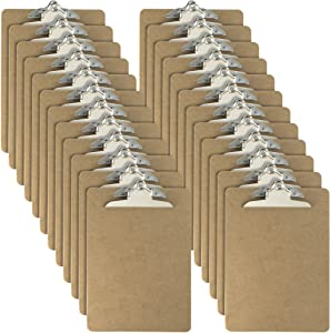 Officemate Letter Size Wood Clipboards, 6 Inch Clip, 24 Pack Clipboard, Brown (83724)