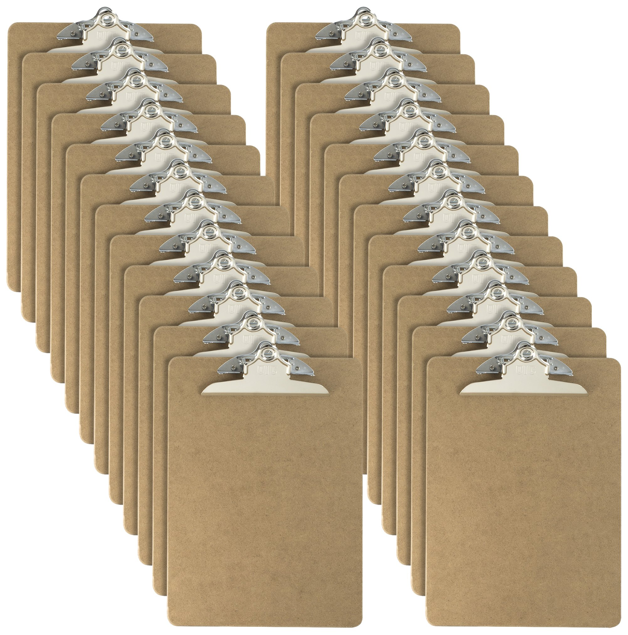 Officemate Letter Size Wood Clipboards, 6 Inch Clip, 24 Pack Clipboard, Brown (83724) by Officemate