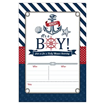 Nautical Baby Shower Invitations Ahoy Its A Boy Invites 20 Fill In Beach