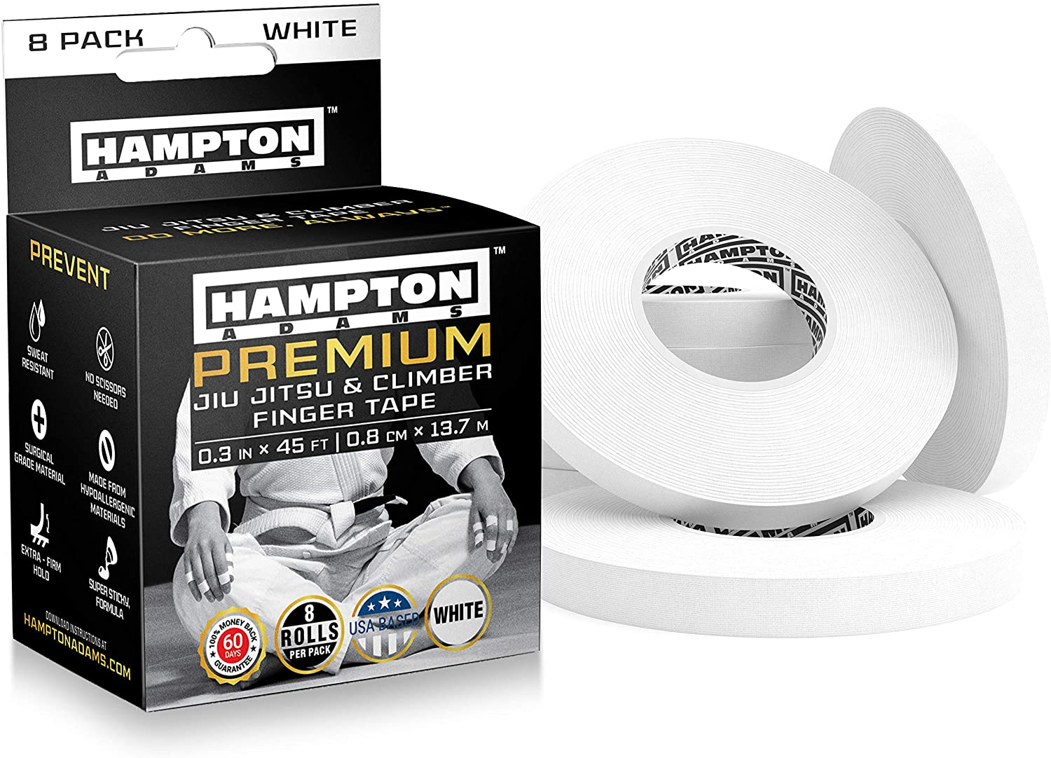 "(8 Pack) White Finger Tape - Athletic Tape | 0.3"" x 45 Feet - for Rock Climbing, BJJ Jiu Jitsu, Grappling, MMA, Crossfit and Martial Arts by Hampton Adams"