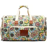 Malirona Women Canvas Duffel Bag Weekend Bags for Overnight Trip with Shoes Organizer