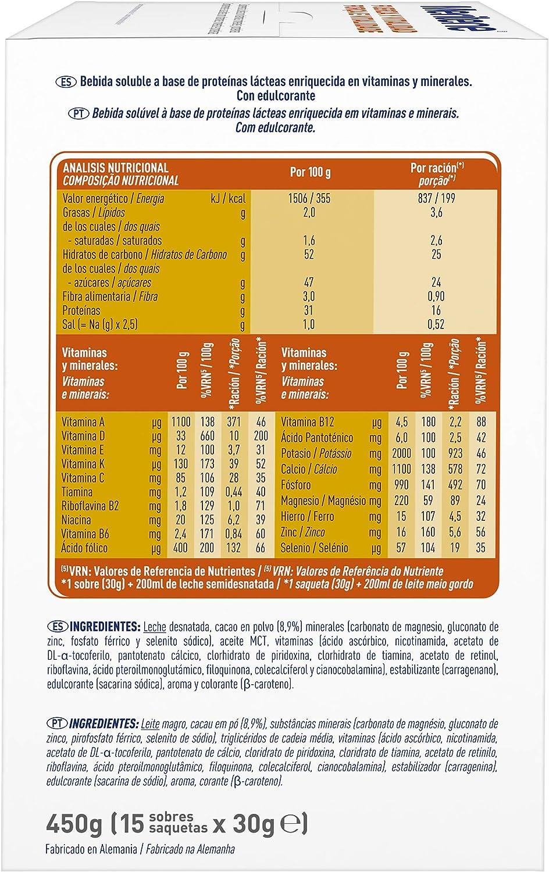 Meritene® FUERZA Y VITALIDAD - Suplementa tu nutrición y mantén tu sistema inmune con vitaminas, minerales y proteínas - Batido de Chocolate - Estuche ...