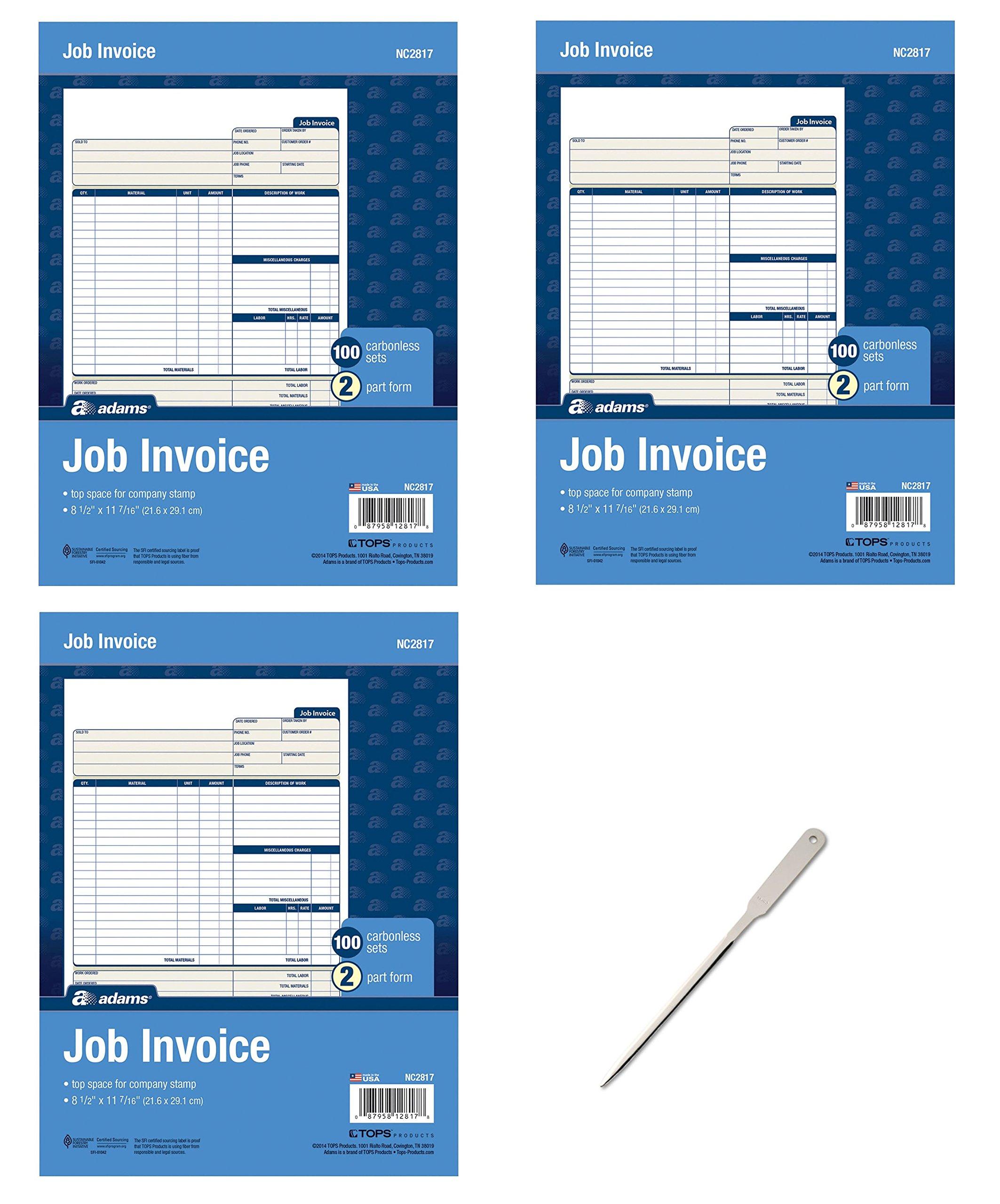 Adams Job Invoice Unit Set, 8.5 x 11.44 inch, 2-Part, Carbonless, 300-Pack, White (NC2817) - Bundle Includes Universal Letter Opener (3 Pack Bundle)