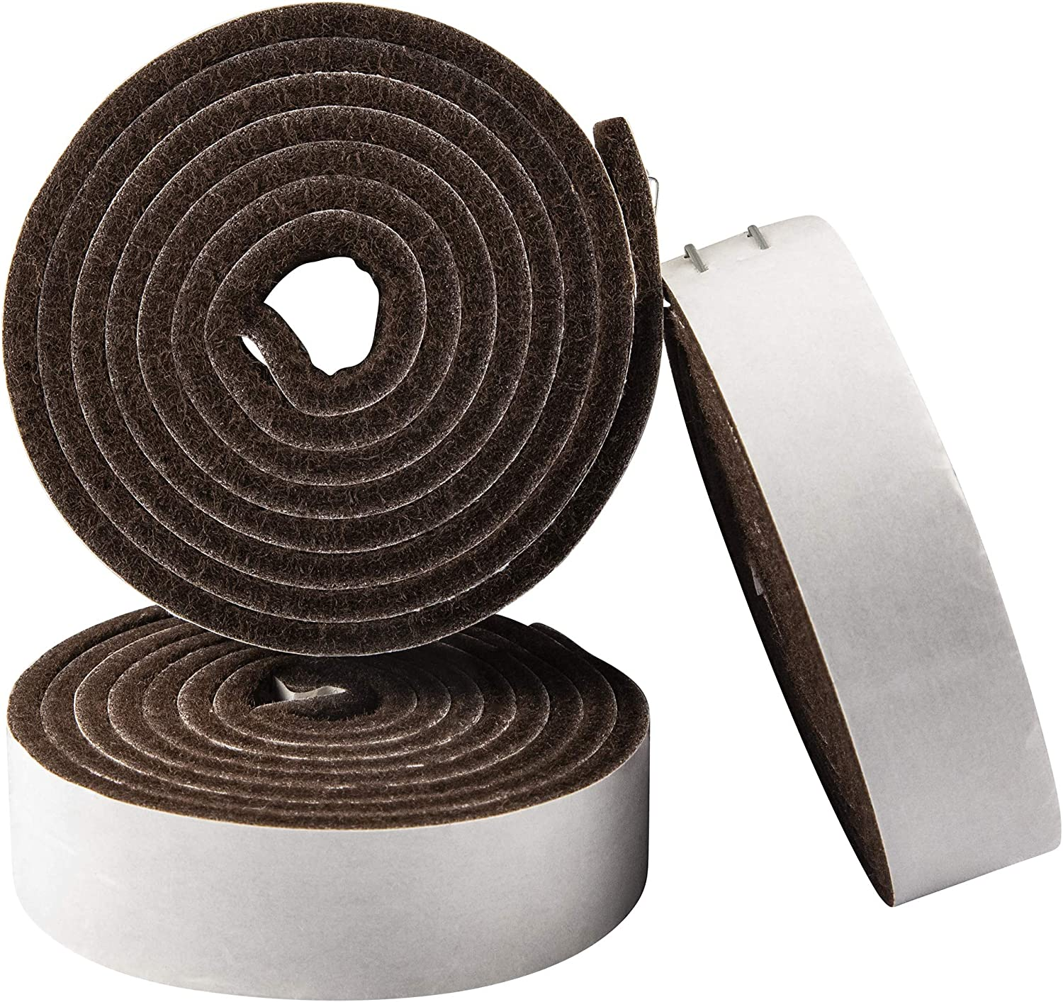 """SoftTouch 1 x 60"""" Self-Stick Heavy Duty Felt Strips with Adhesive Backing 1"""" x 60"""", 3 Pack Brown"""