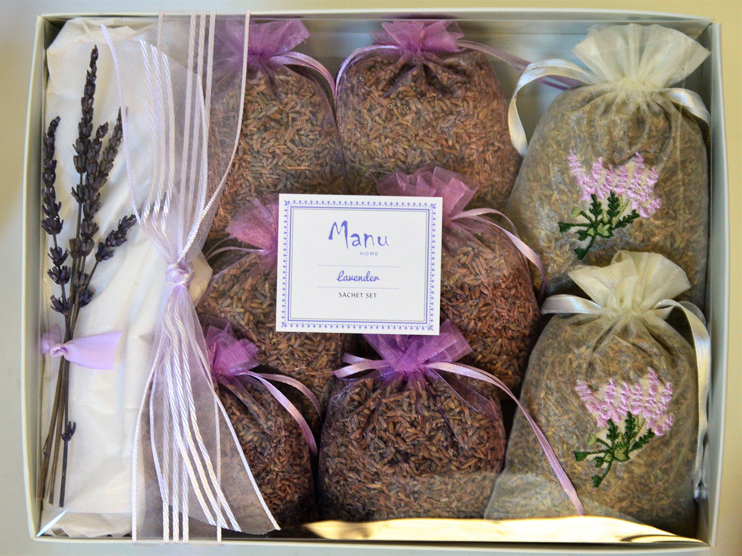 Manu Home Lavender Sachets ~ Lavender Stems & buds from Provence in beautiful organza pouches~ Perfect for Home Fragrance, Natural Deodorizer, Moth Repellent and to refreshen clothes~ Made in USA!