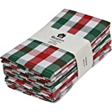 Gratico Dinner Napkins, Everyday Use, Premium Quality,100% Cotton, Set of 12, Size 20X20 Inch, Red/Green/White Oversized Clot