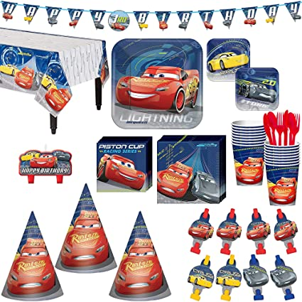 Amazon Cars 3 Birthday Party Kit Includes Happy Banner Candles And Hats Serves 16 By City Toys Games