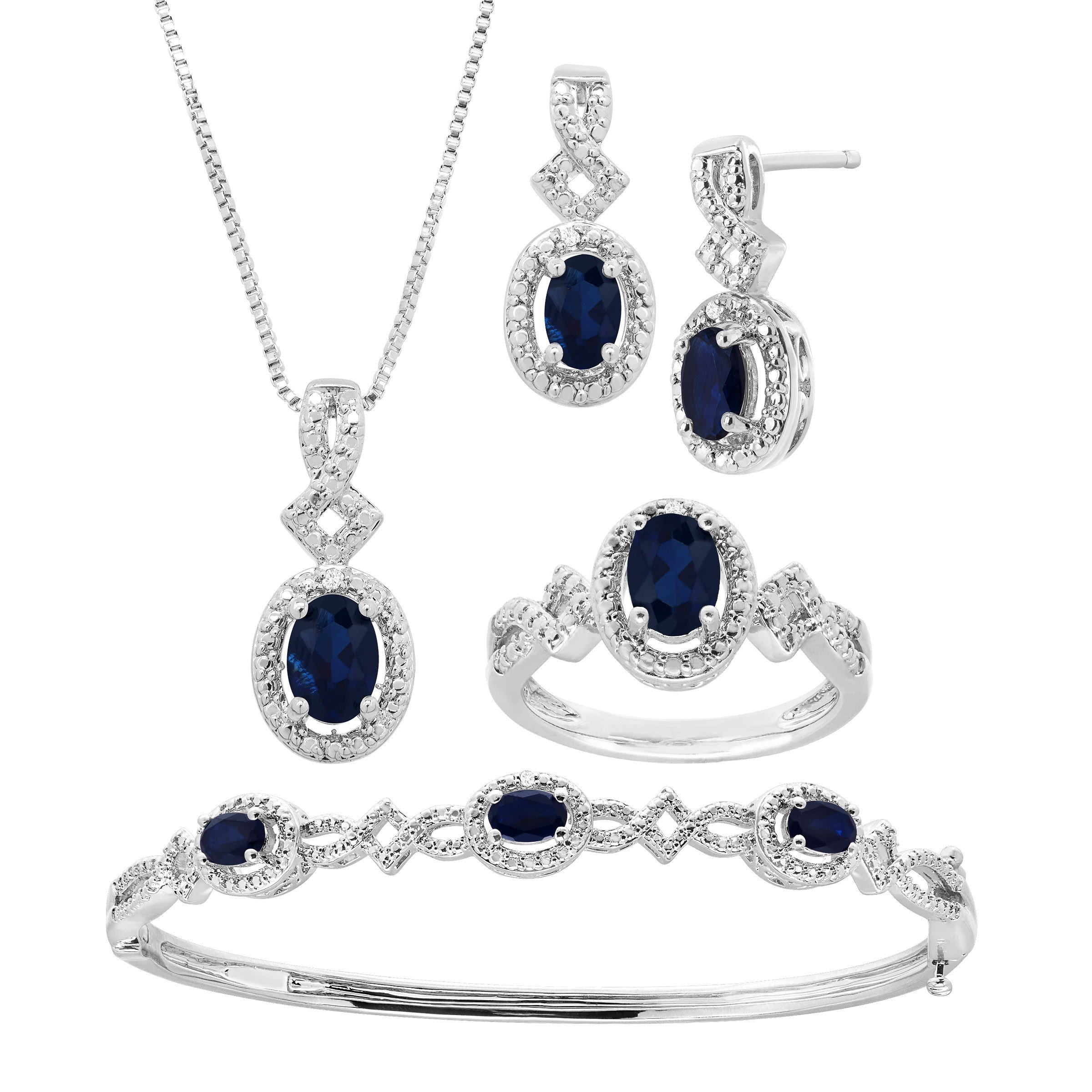 5 ct Created Sapphire Pendant, Bracelet, Earring & Ring Set with Diamonds in 14K White Gold-Plated Brass