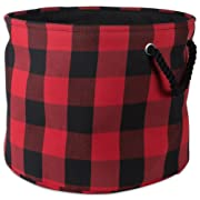 DII Polyester Storage Basket or Bin with Durable Cotton Handles, Home Organizer Solution for Office, Bedroom, Closet, Toys, Laundry, Large Round, Red & Black