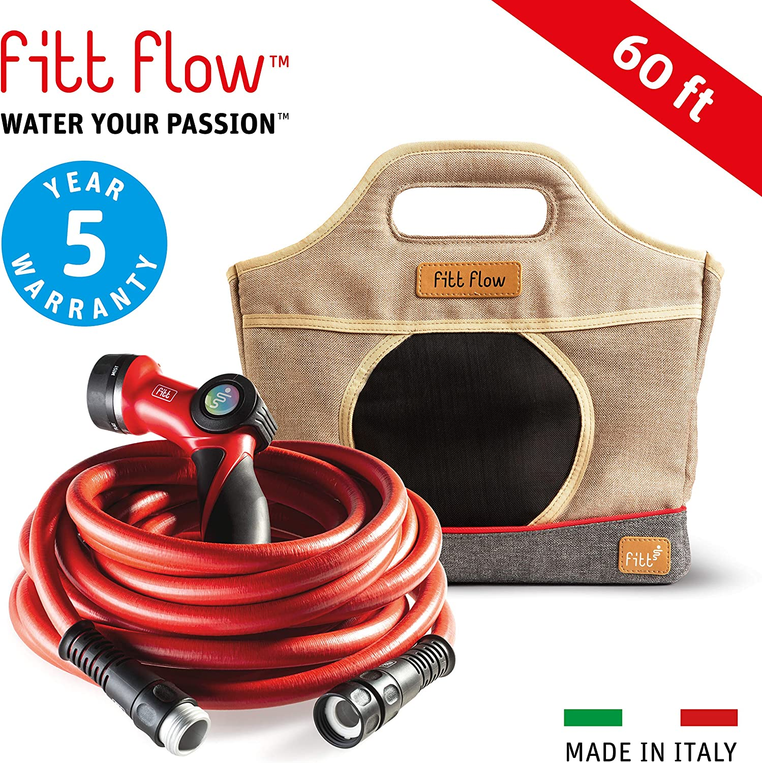 FITT Flow Expandable 60 ft Patio Garden Hose Made in Italy, 6 Layers Lightweight Flexible Hybrid polimer, riparable, from 30 ft Over 50 ft, 3X Lighter Than Others, Multi-Pattern Nozzle & Storage Bag