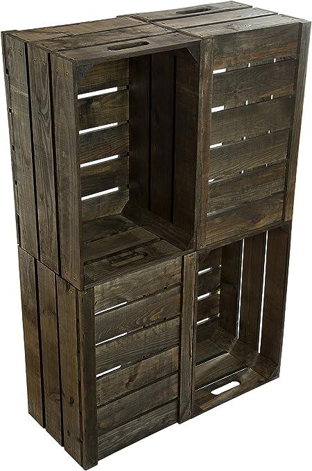 4 pieza nueva Kistenkolli Cajas Caja, manzana caja, caja de vino del antiguo país + + + natural 54 x 35 x 30 cm: Amazon.es: Hogar
