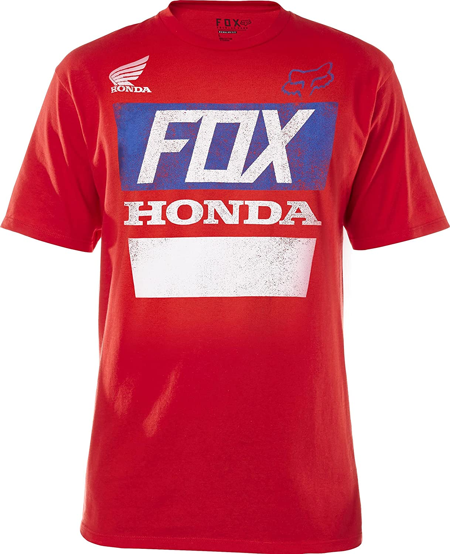 Fox Racing Honda Distressed Basic T-Shirt-Red-2XL