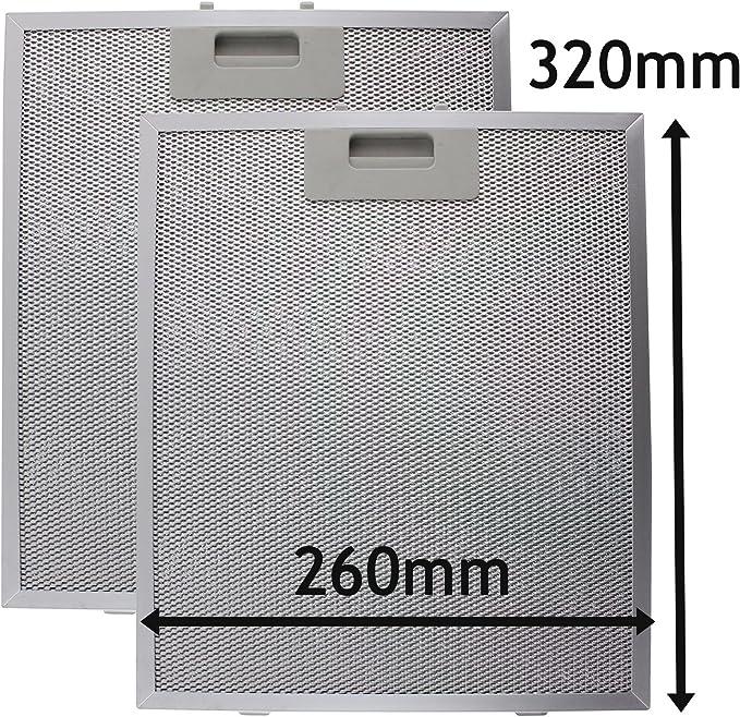 SPARES2GO Campana Antigrasa Filtro (Plata, 320 x 260mm) (Paquete de 2): Amazon.es: Hogar
