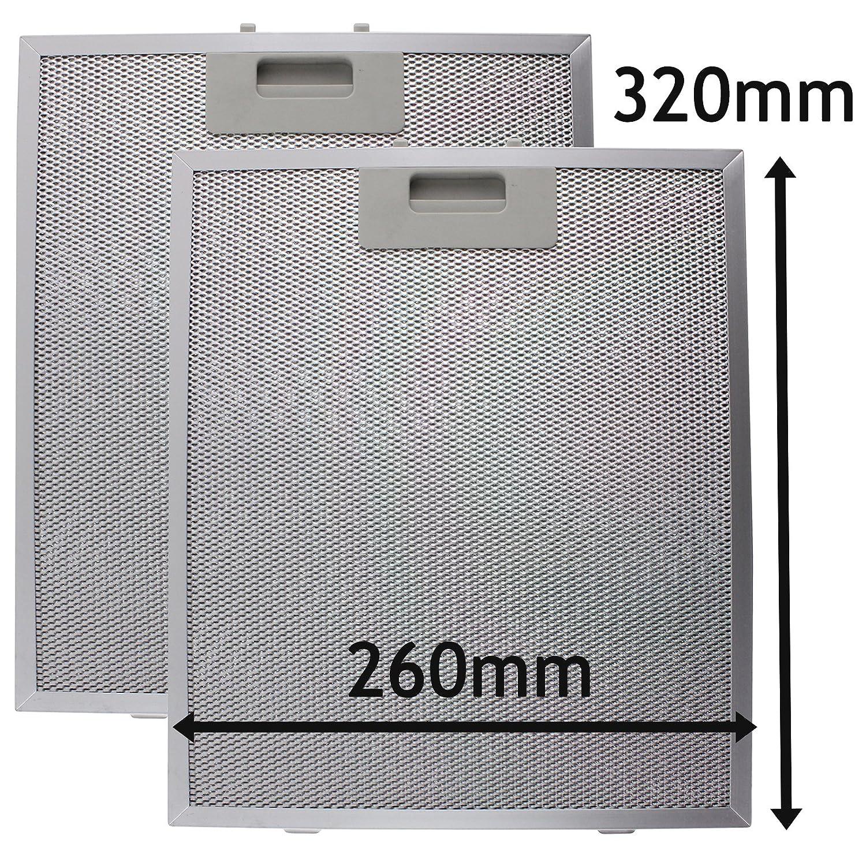 SPARES2GO Filtro Metallico Antigrasso Cappa Universale (Argento, 320 x 260mm) (Confezione da 2)