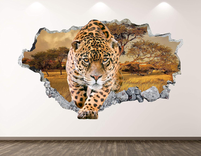 "West Mountain Cheetah Wall Decal Art Decor 3D Smashed Animal Sticker Mural Kids Room Custom Gift BL67 (30"" W x 18"" H)"