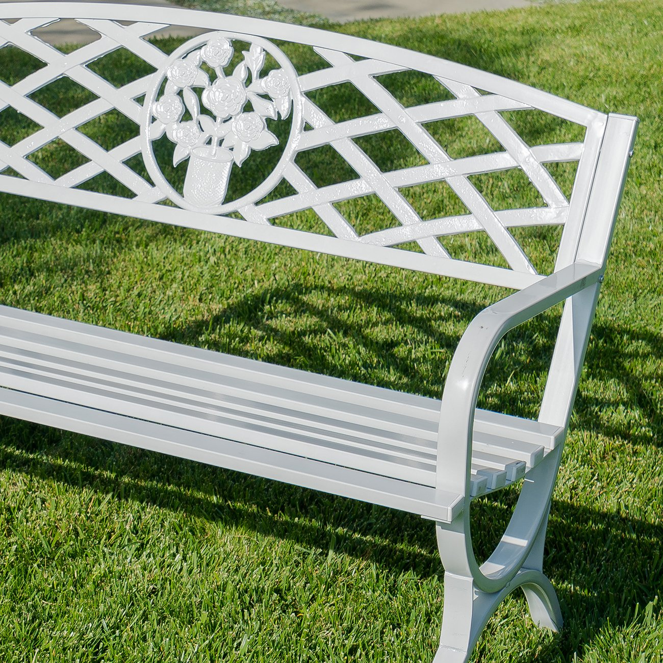 Belleze 50'' inch Outdoor Park Bench Garden Backyard Furniture Chair Porch Seat Steel Frame, White by Belleze (Image #6)