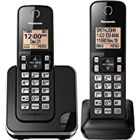 Panasonic Expandable Cordless Phone with Amber Backlit Display (Black)